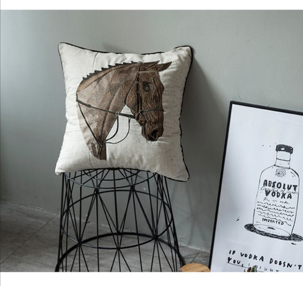Refers to deer as horse, small fresh pillow, sofa cushion Simple sofa pillow bedside cushion living room pillow chair back cushion