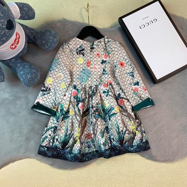 kids_love pattern design pastoral Girl Autumn Princess Western Style Bambini designer gonna di lusso Bambini 0818