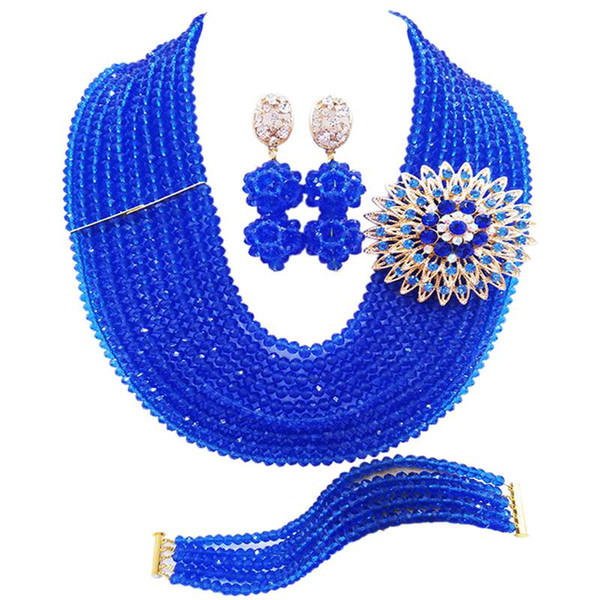 Nigerian Ethnic Blue Crystal Anniversary Beads Necklace Gift Women Jewelry Sets 10C-DS-05