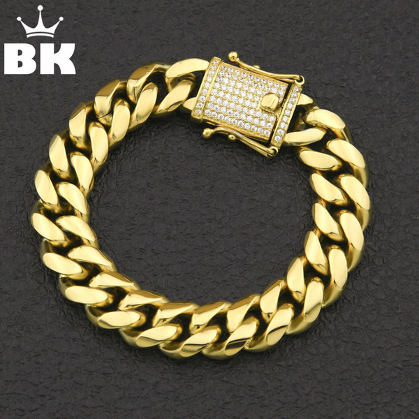 12mm/14mm Cz Stainless Steel Curb Cuban Link Bracelet Gold Silver Plated Hiphop Micro Paved Cz Mens Miami Bangle 7inch/8inch J190625