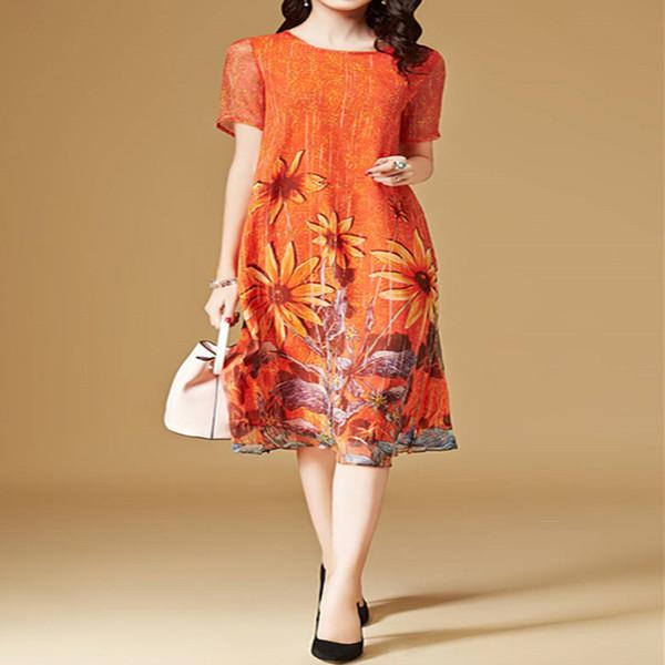 Elegante vestido floral para mujer Vestido de gasa suelta Mujer 2019 Vestidos de seda de imitación a media pierna casuales Tallas grandes Vestido de verano naranja