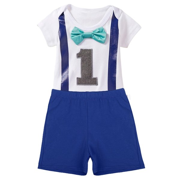 Baby Boys Girls 1st Birthday Cake Smash Outfits Romper Shorts for One Year Clothes Photo Prop Romper Bodysuit + Pants