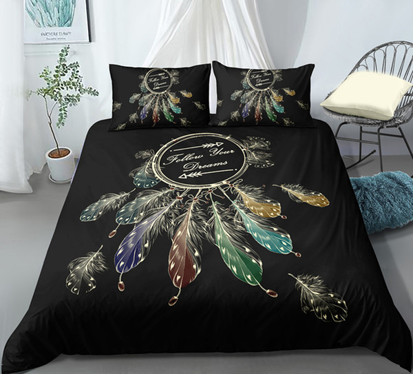 Thumbedding Dropship Dreamcatcher Shining Feathers Printed Bedding Sets King 3D Duvet Cover Set Unique Designed Bed Set 3pcs