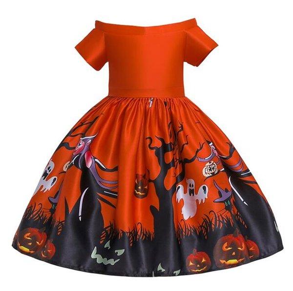 Kid Baby Girls Short Sleeve Pumpkin Print Halloween Dress