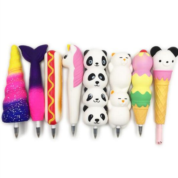 Hottest Squishy Pencil Sleeves Cute Panda Dolls Squishies Slow Rising Pencil Toppers Grip Fruit Scented Stress Relief Toy Ball pen Gift