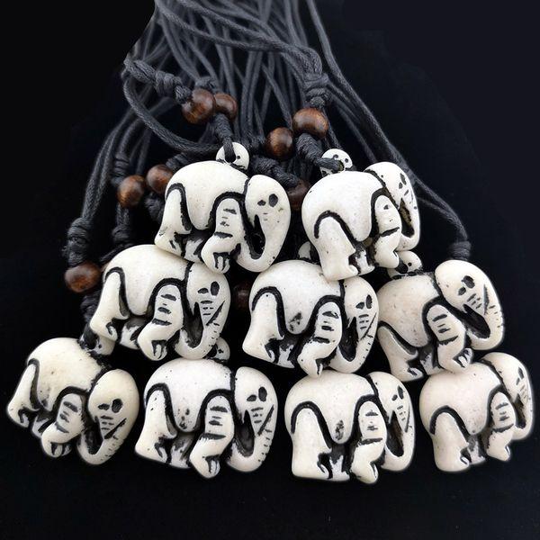 Wholesale 12pcs Tibetan Style Imitation Bone Carved Cute Elephants pendants necklaces amulet gifts for men women's jewelry XL17