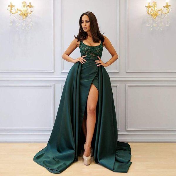 Green Hunt Dividir Ropa formal del vestido de noche con el tren desmontable con cuentas correas espaguetis sobrefalda vestidos de noche de barrido tren vestido de fiesta