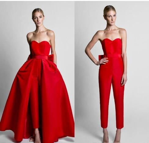Krikor Jumpsuits rojos de Jabotian Vestidos de noche con diseño de lazo con una falda desmontable Cariño Longitud del piso Fiesta formal Vestidos de baile Pantalones