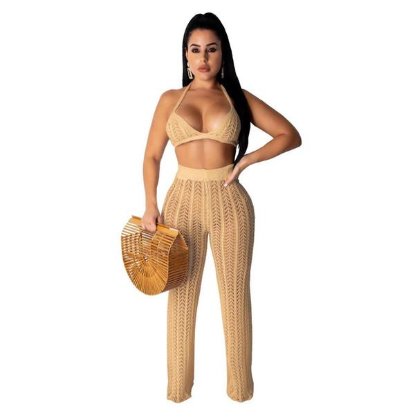 Fischnetz stricken zweiteilige Set Frauen Sexy BH Top und Hose 2 Stück passende Sets ärmellose Sommer Festival Beach Outfits