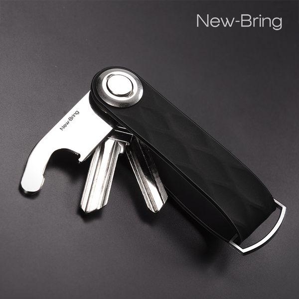 Multifunctional Tool Leather Key Holder Organizer Smart Key Wallet Keychain Metal Car Ring