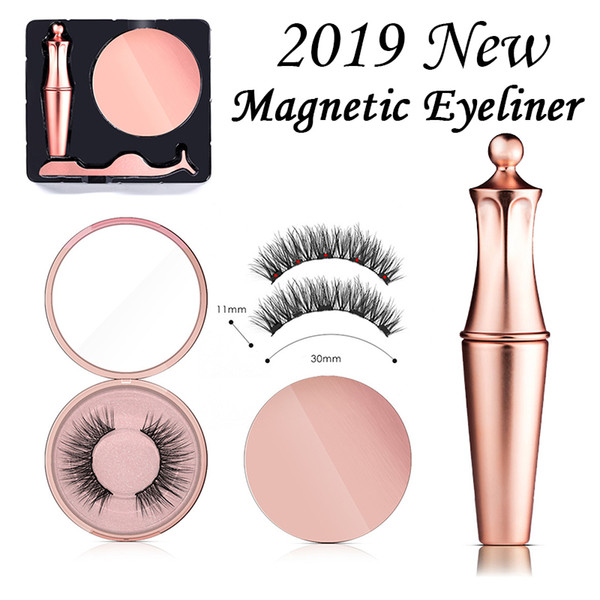 3pc/set magnetic eyeliner magnetic eyeashes kit waterproof long lasting eyeliner false eyelashes Tweezer Set custom packaging Box