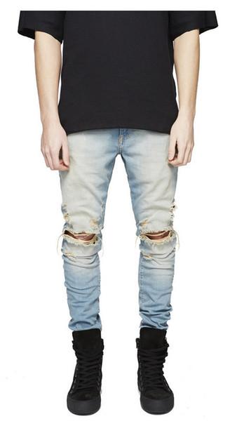 Moda Erkek Düz Slim Fit Biker Jeans Pantolon Sıkıntılı Sıska Yırtık Yırtık Kot Kot Yıkanmış Hiphop Pantolon Siyah