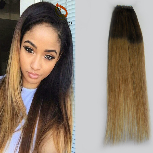 Ombre virgin peruvian hair straight tape in human hair extensions double Two tone skin weft tape hair extensions Brown and blonde