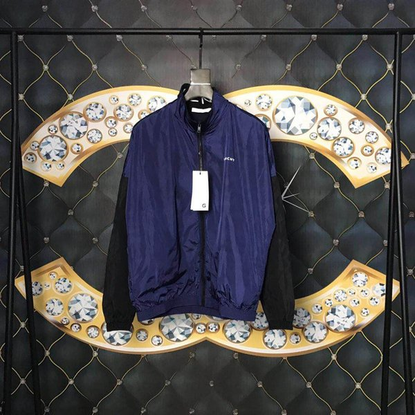 19ss мужские дизайнерские куртки роскошные париж письмо темно-синий контрастная цветная печать мужская одежда джемпер с длинным рукавом мужчины женщины высокое качество тег новый