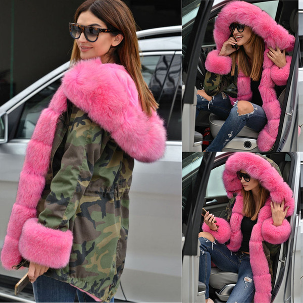 Winter Women Thicken Pink Faux Fur Camouflage Hot Parka Women Hooded Long Fashion Jacket Overcoat Plus Size M-5XL