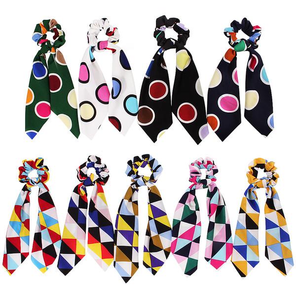 Women Girl Elastic Hairbands Scrunchie Streamer Accessories Scrunchies Geometry Bubble Ring Ribbon Turban Horsetail Hair Ties 50pcs F416B