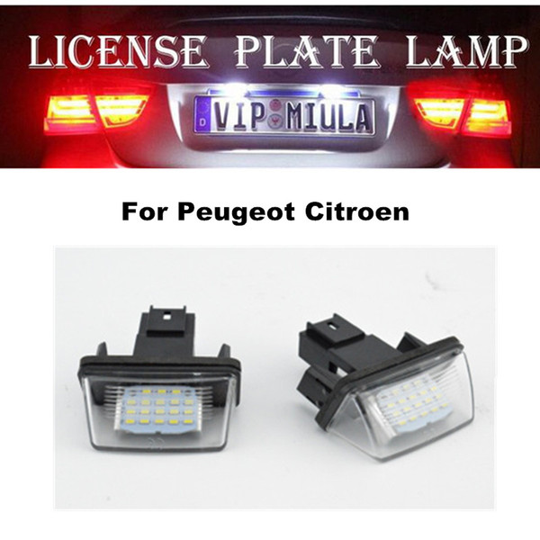 best selling License Plate LED Lamp For Peugeot 206 207 307 308 Citroen White Color LED Light Auto Accessories For Peugeot Size 56x30x64mm