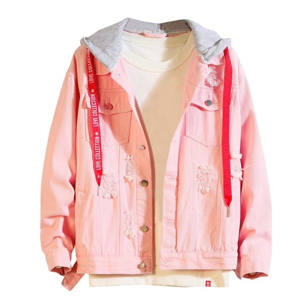 2019 nuevas chaquetas Parka para hombre otoño invierno con capucha Vintage Wash desgastado Denim Jacket Coat Top Casual Windbreak chaquetas hombres