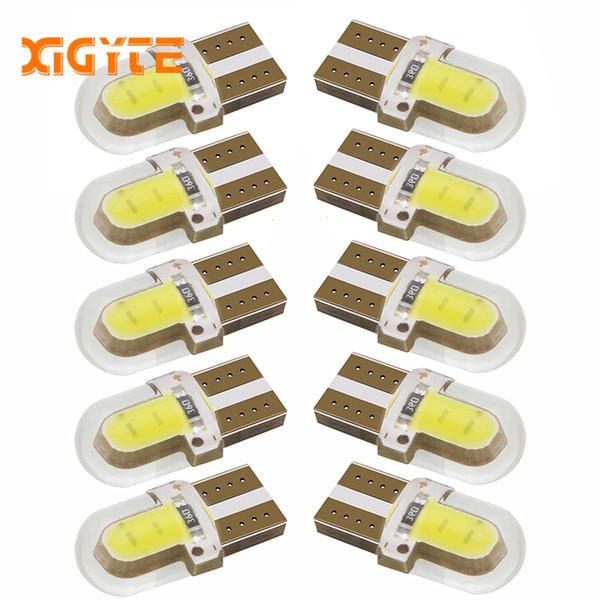 10 unids LED W5W T10 194 168 W5W COB 8SMD Led bombilla de estacionamiento Auto Wedge Liquidación lámpara CANBUS sílice blanco brillante licencia bombillas