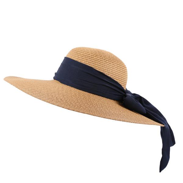 Weaving Straw Cap Floppy Foldable Solid Color Summer Beach Caps Visor Hats Ladies Wide Travel Sun Hat Chapeau Femme Ete