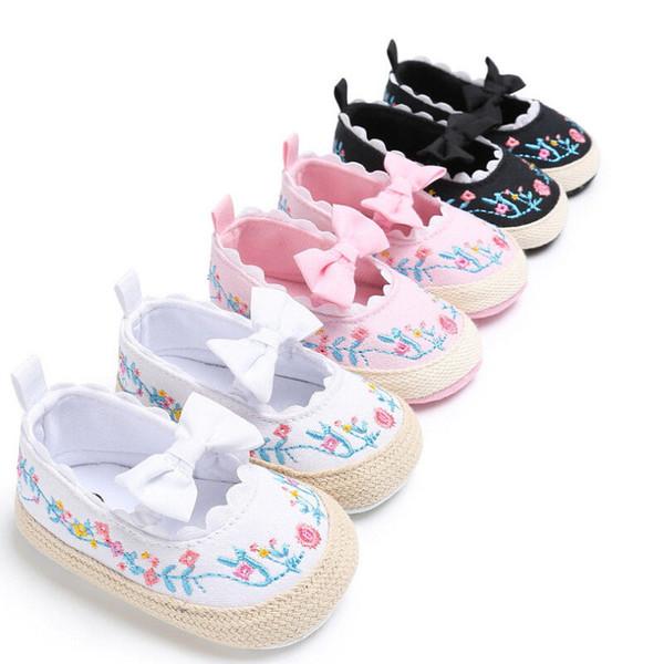 2018 Verano Lindo Dulce Bebé Recién Nacido Suela Suave Zapatos de Cuna Floral Bowknot Zapatilla Antideslizante Prewalker 0-18 M