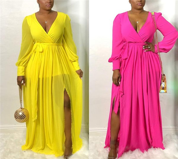 Sexy Womens Maxi Dresses Perspective Deep V-Neck Long Sleeve Split Dresses With Sashes Fashion Ladies Dresses
