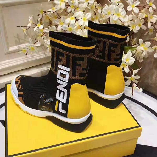 [Avec boîte] 2019 Designers Luxurious Marque Hommes Sneakers Mocassins De Mode FF Hommes Femmes Haut-haut en tissu élastique Casual Sport Chaussette Chaussures 35-45