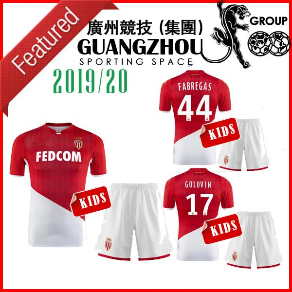 19 20 AS Monaco kids soccer JERSEYS FABREGAS 44 HOME AWAY 2019 KIT BAMBINI SET CHADLI CAMICIE DI CALCIO GOLOVIN JERSEY