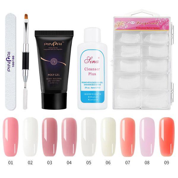 1 bottle 30ML Poly Nail Gel Polish False Nails gel varnish Liquid Double-end Pusher Nail gel varnish set Cleanser Plus Set #79