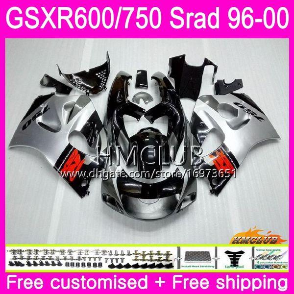 Body For SUZUKI SRAD GSXR 750 600 1996 1997 1998 1999 2000 Kit 1HM.19 GSX-R750 GSXR-600 GSXR750 GSXR600 96 97 98 99 00 Silver black Fairing