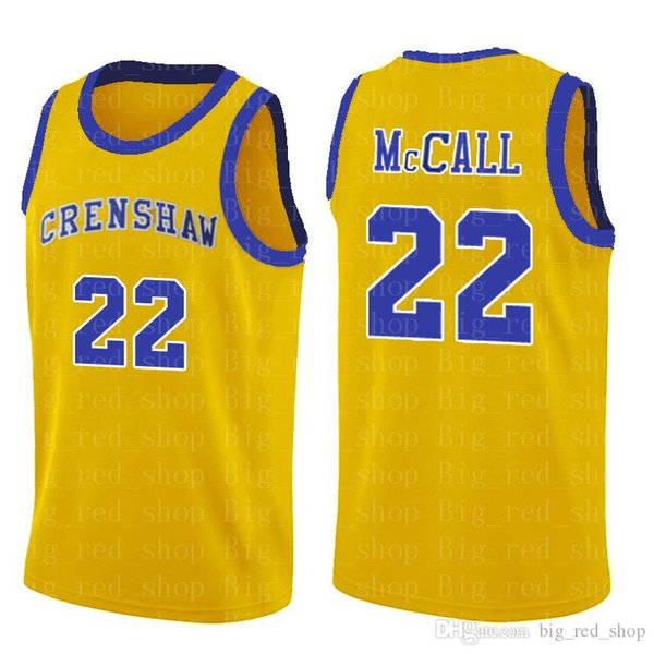 NCrenshaw High School 22 Maillots de basket-ball College College de cinéma de Quincy McCall, bleu, blanc, chemise de sport de qualité supérieure S-XXL