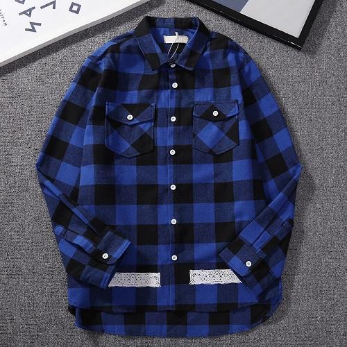 19 nuevo diseñador de la marca OF Box LOGO carta costura camisa a cuadros camisa de alta calidad al por mayor tela de franela, envío gratis