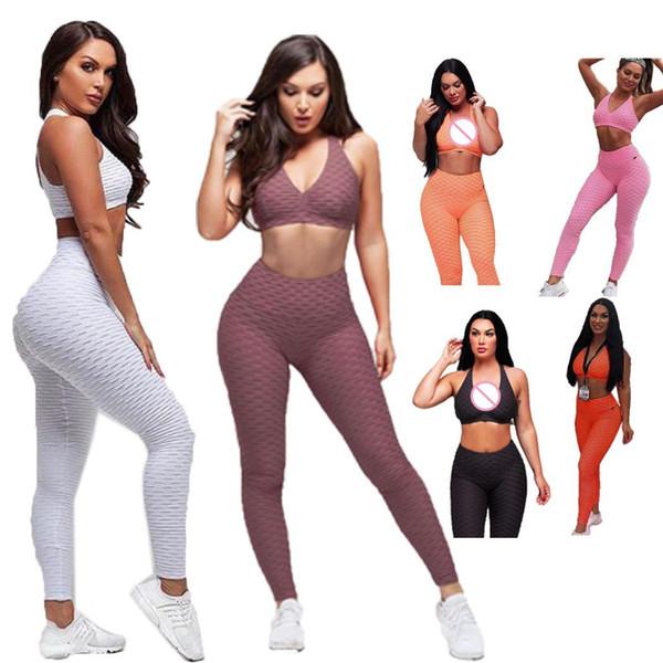 Damenmode Fitness Kleidung Set einfarbig Bh eng anliegende Hosen 2-Stücke All Seasons Set Sport, lässig