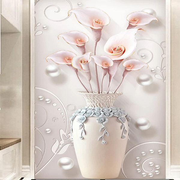 Özel duvar 3D Duvar Kağıdı Kabartmalı Stereo Basit Avrupa Vazo Giriş Duvar Koridor Koridor Salon TV Arkaplan Duvar Kağıdı