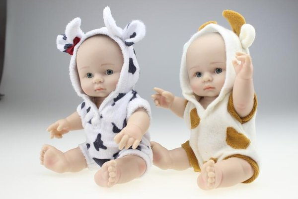 25cm Mini Full Silicone Reborn Baby Doll Lovely Sheep Clothing Can Enter into Water