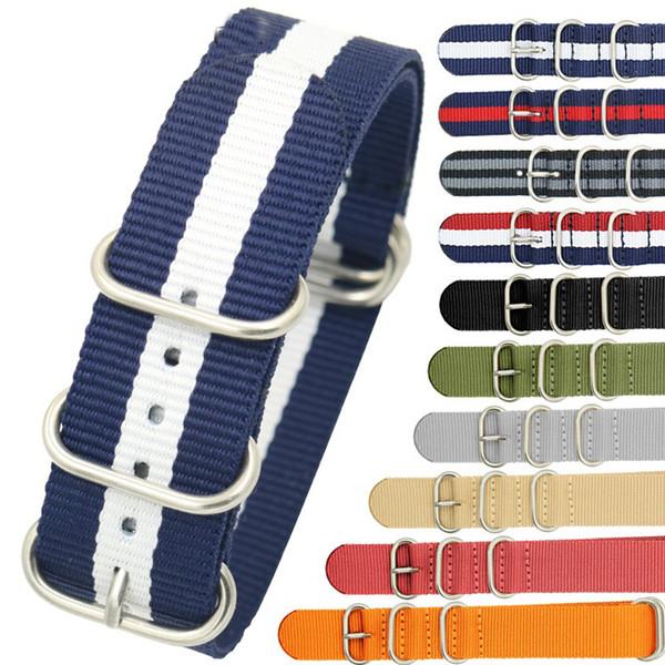 Homme Nylon Résistant Straps18mm 20mm 22mm 24mm Bracelet En Nylon Montre Bracelet OTAN Pour Zoulou Montre-Bracelet Boucle Anneau