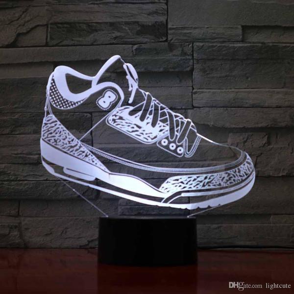 Remote 16 colori Le scarpe da corsa creativi di modellazione 3D Night Lights LED del pulsante Touch USB per bambini Sport Colorful Desk Lamp Camera Home Illuminazione
