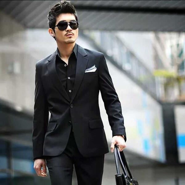 Black Custom Made Men Suits Wedding Suits For Man Business Slim Fit Formal Groom Wear Prom Best Man Cheap Blazer Handsome 2019 Jacket+Pants