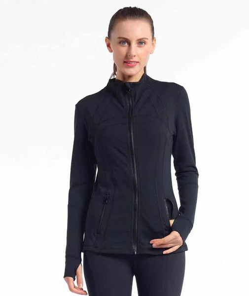 top popular L Women's yoga jacket Slim Seamless Running Gym Long sleeves Fitness Workout Quick Dry Elastic Zippered Outdoor Sports jacket yogaworld 2020