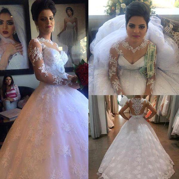 Sexy A-Line Wedding Dresses heart-shaped collar transparent long sleeve Lace Applique back zipper tail wedding dress custom package