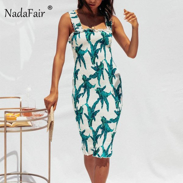 Nadafair Print Floral Pencil Summer Dress Women Sexy Beach Spaghetti Strap Midi Dress Boho Backless Sleeveless Bodycon Dresses