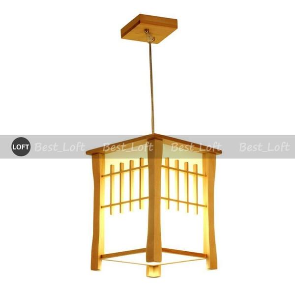 Klasik Ahşap Balkon Kolye Lambaları Japon Tarzı Yemek Odası Kolye Işık Koridor Koridor Sarkıt