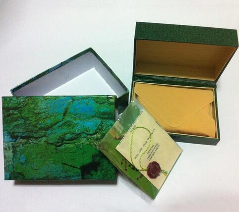 wholesale Free shipping watch Mens For Watch Box Inner Outer Womans Watches Boxes Men Wristwatch Green box booklet card