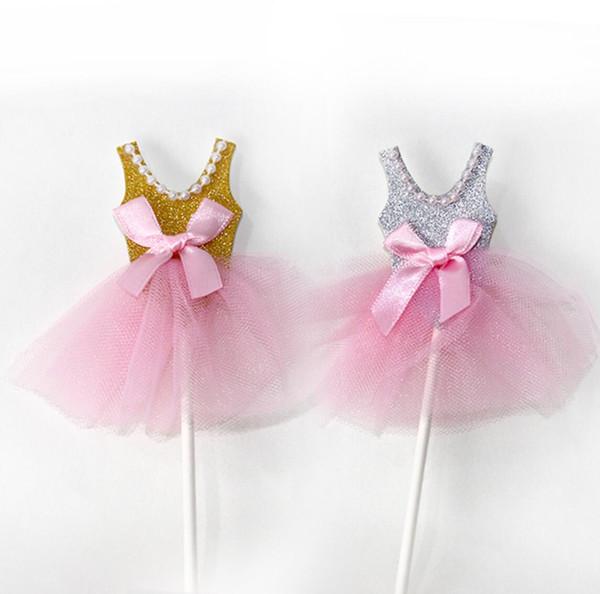 Compre 20 Unids Oro Plata Perla Velo Princesa Vestido Cupcake Baby Shower Cake Toppers Decoración Bebé Fiesta De Cumpleaños Suministros A 835 Del