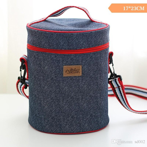 Oxford Cylinder Insulated Cooler Long Shoulder Strap Bag Aluminum Film Zipper Heat Insulation Portable Package Ice Pack Pure Color 13edb1