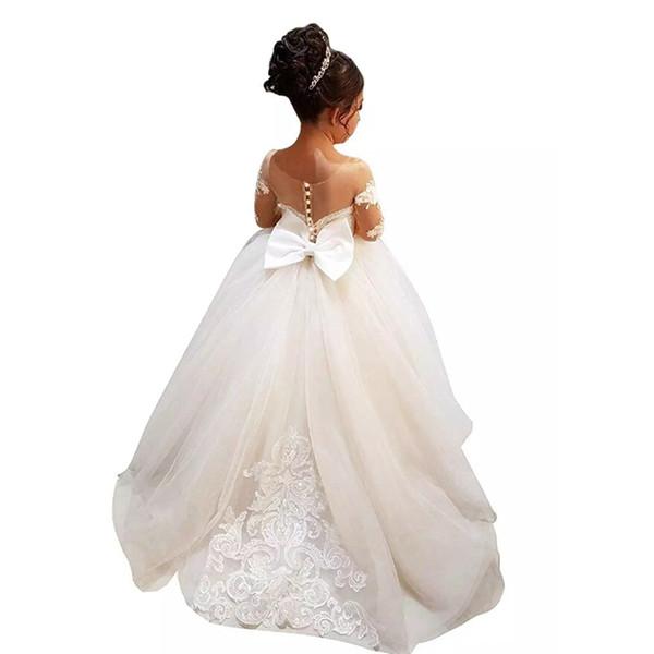 2019 manga larga una línea de vestidos de niña de las flores para la boda dama de honor junior Vintage Sheer Neck Bow Back Kids noche vestido