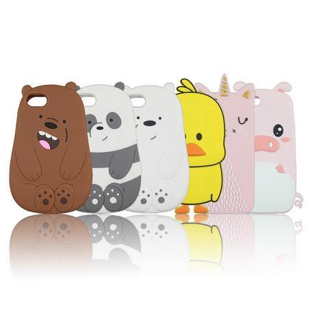 Silicon Case Panda Polar Bear Cat Duck Pig Drunk Cute Phone Cover for iPhone XR XS Max X 8 7 6 6S Plus