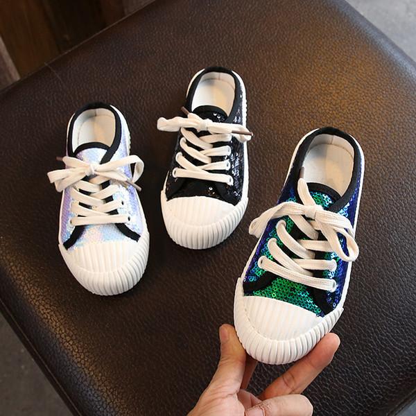 Crianças Arco-íris Sapatos Para Meninas Coloridas Tênis De Brilho Crianças Lantejoulas Sapatos Baixos Da Criança Do Bebê Mocassins Calçados Infantis