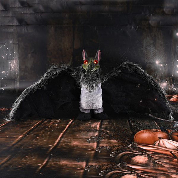 Halloween Electric Bat Ghost Skeleton Horror Light Up Eyes Haunted House Bar Funny Toy Voice Control Halloween Decorations Props