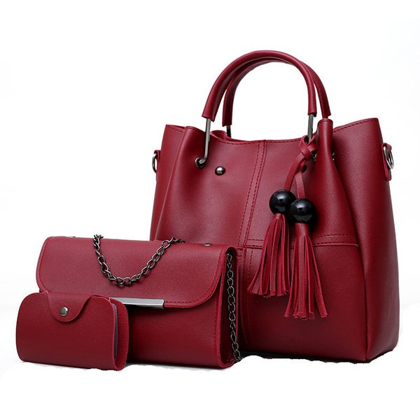 Personality Beads Fringe Three-piece Mother-of-the-bag Handbag New Fashion High Quality Casual Wild Shoulder Messenger Bag